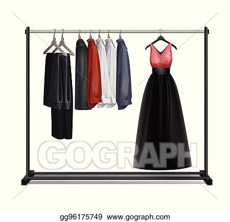 Vector Art Vector Clothes Rack EPS Clipart Gg40 GoGraph Custom Coat Rack Clipart