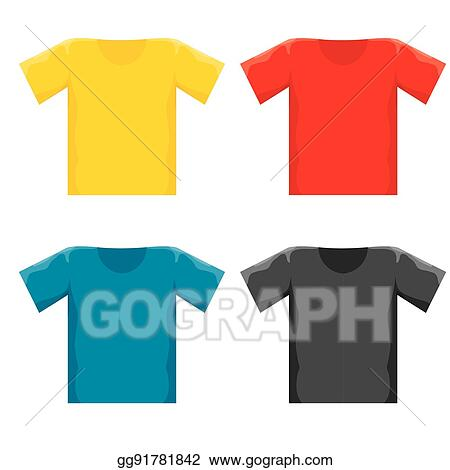 Vector Color Blank T Shirt Design Template Set