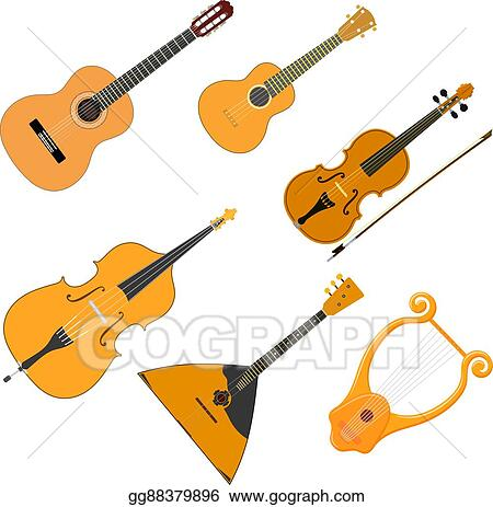 Vector Stock Vector Color Set Of Acoustic Stringed Musical