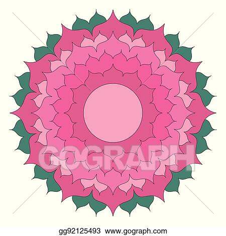 Vector Colored Round Simple Mandala Lotus Flower