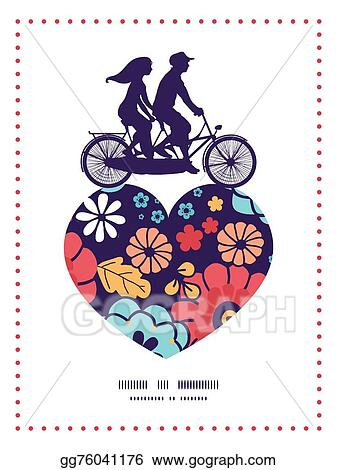 Eps Illustration Vector Colorful Bouquet Flowers Couple On Tandem