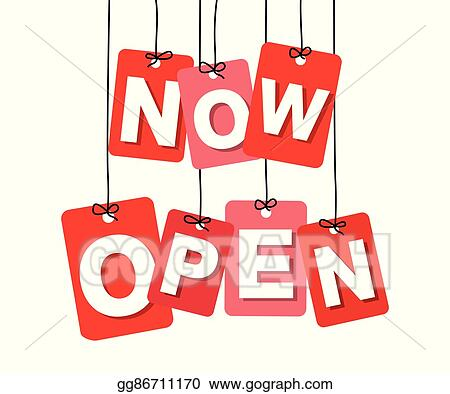 Now open. Vector art colorful hanging
