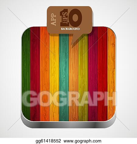 Vector Stock - Vector colorful wooden app icon with brown