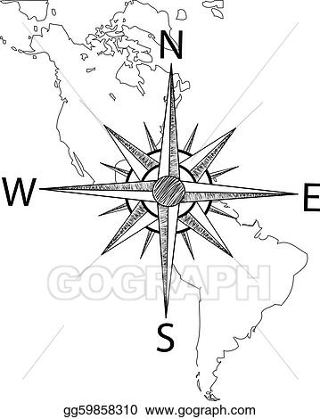 America Map With Compass.Vector Illustration Vector Compass On The Map Of America Eps
