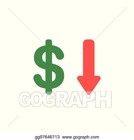 Vector Stock Vector Concept Of Dollar With Arrow Down Icon On
