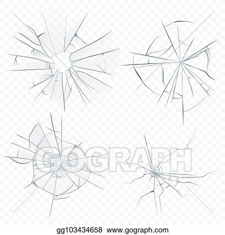 EPS Illustration - Vector cracked crushed realistic glass set on the