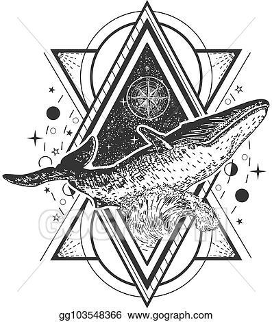 Vector Illustration Vector Creative Geometric Whale Tattoo
