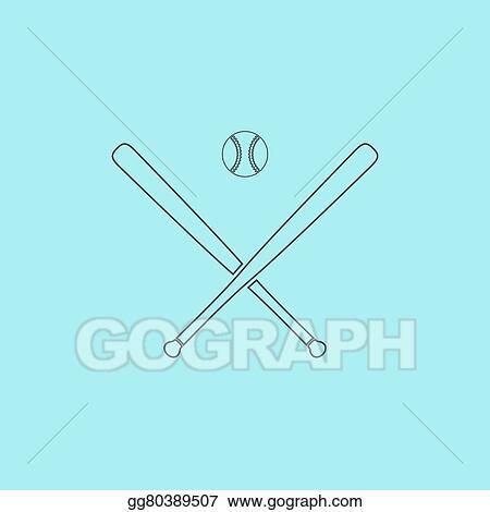 Vector Art Vector Crossed Baseball Bats And Ball Clipart Drawing