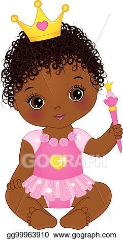 Download Vector Stock - Vector cute african american baby girl ...