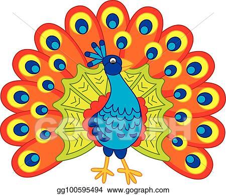 vector clipart vector cute cartoon peacock vector illustration gg100595494 gograph https www gograph com clipart license summary gg100595494