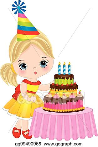 Cool Vector Illustration Vector Cute Little Girl Blowing Out Candles Funny Birthday Cards Online Elaedamsfinfo