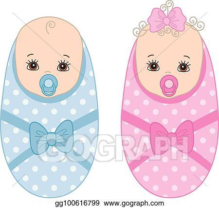 Vector Art Vector Cute Newborn Twins Vector Baby Boy Vector Baby