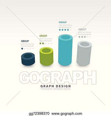 Vector Stock - Vector cylinder infographic 3d graph template 4 color