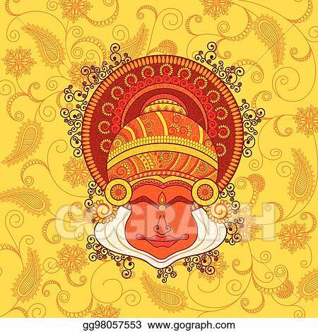Vector Art Vector Design Of Kathakali Dancer S Face Clipart Drawing Gg98057553 Gograph