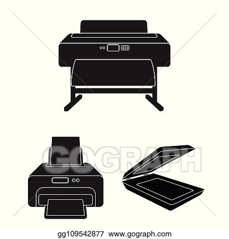 vector clipart vector design of printer and plotter icon set of printer and machine vector icon for stock vector illustration gg109542877 gograph vector clipart vector design of