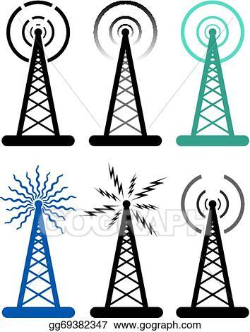 Vector Illustration - Vector design of radio tower symbols