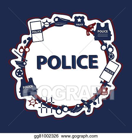 Eps Vector Vector Design Police Symbols In Round Form With Dark