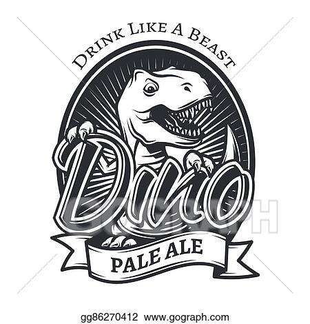 2672369d9 Vector dinosaur craft beer brewery logo concept. T-rex bar insignia design.  Pale ale label template. Vintage Jurassic period illustration.