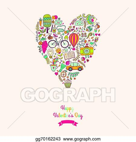 Vector Illustration Vector Doodles Heart Valentine S Day Card