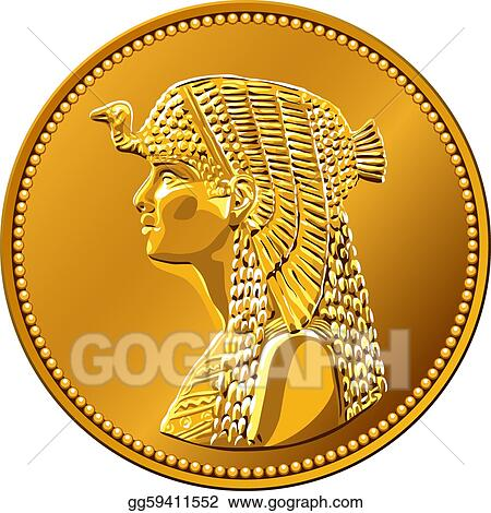 Eps Illustration Vector Egyptian Money Gold Coin Featuring Queen