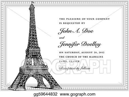 Vector art vector eiffel tower wedding invitation clipart drawing vector eiffel tower wedding invitation stopboris Image collections