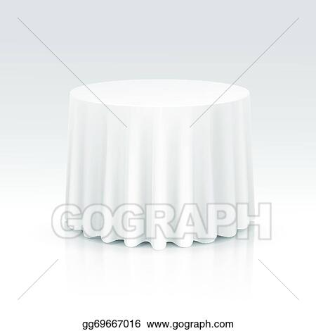 Round Table With Tablecloth.Vector Stock Vector Empty Round Table With Tablecloth Clipart