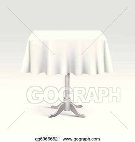 Eps Vector Vector Empty Square Table With Tablecloth Stock