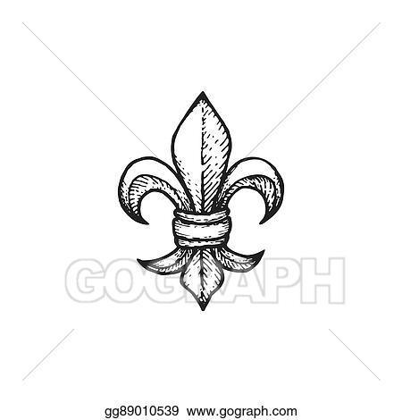 Fleur Illustration vector stock - vector engraving fleur de lis. clipart illustration