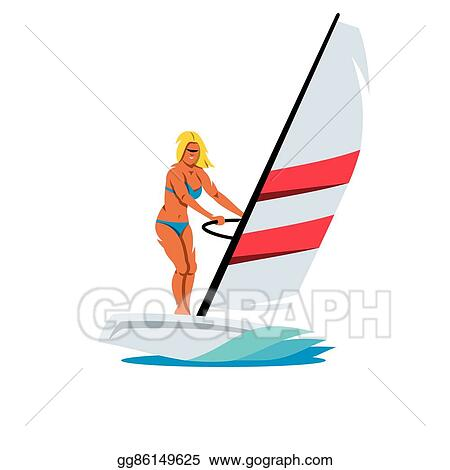 Vector Female Windsurfing Cartoon Illustration