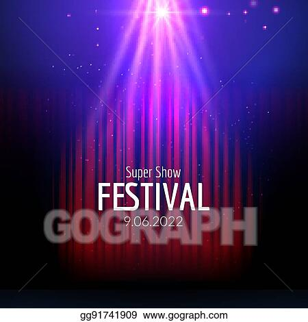 Vector Festive Design With Lights Poster For Concert Party Theater Dance Template Stage Curtains