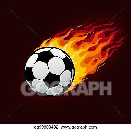 Fire soccer ball. Vector art flying football