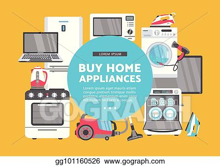 Vector Art Vector Flat Home Appliance Sale Icon Set Clipart Drawing Gg101160526 Gograph