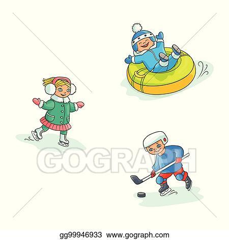 69dc681c6 EPS Vector - Vector flat kids doing winter outdoor sport set. Stock ...