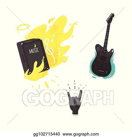 Vector Stock Vector Flat Music Symbol Guitar Amplifier Rock