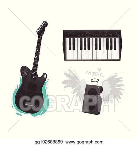 Eps Illustration Vector Flat Music Symbol Piano Guitar Loudspeaker