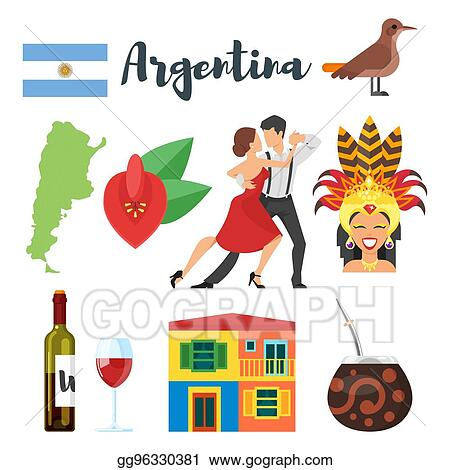 Vector Stock Vector Flat Style Set Of Argentina National Cultural
