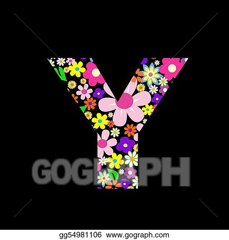 Stock Illustrations Vector Flower Font Letter Y Stock Clipart