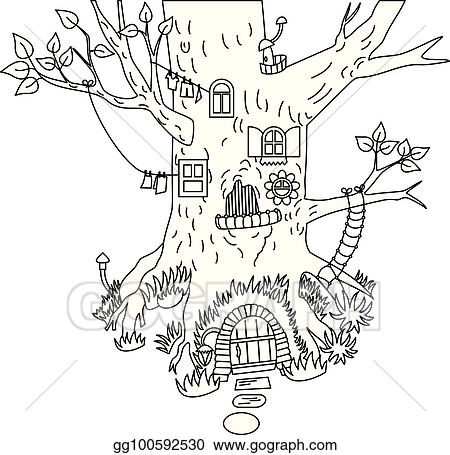 Eps Vector Vector Forest Tree House Stock Clipart Illustration