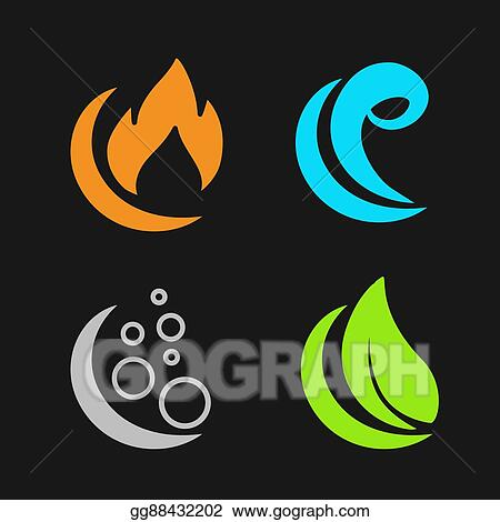 Vector Art Vector Four Natural Elements Fire Air Water Earth