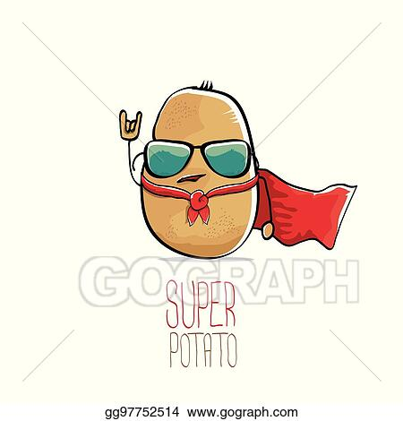 Vector Art - Vector funny cartoon cute brown super potato