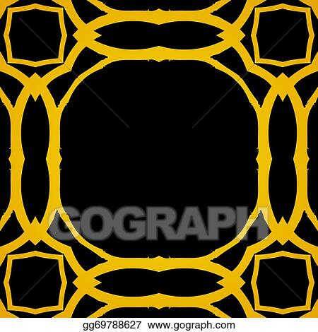 Vector Clipart Vector Geometric Art Deco Frame With Gold