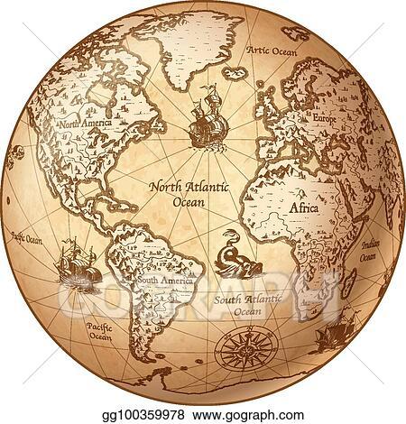 Vector art vector globe vintage world map eps clipart gg100359978 vector globe vintage world map gumiabroncs Choice Image