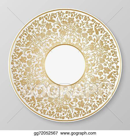 Vector gold decorative plate.  sc 1 st  GoGraph & Vector Stock - Vector gold decorative plate. Clipart Illustration ...