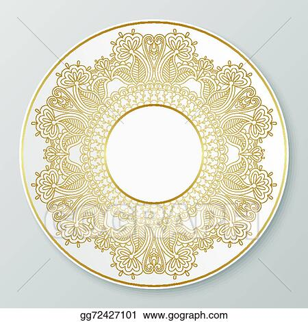 Vector gold decorative plate.  sc 1 st  GoGraph & Vector Stock - Vector gold decorative plate. Clipart Illustration ...