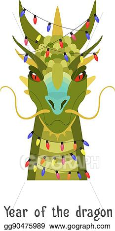 vector stock vector green chinese dragon head in new year lights
