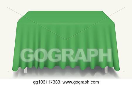 Vector Art Green Empty Rectangular Table With