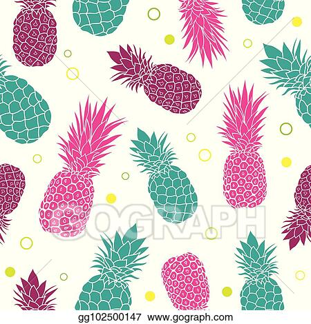 Pineapple colorful. Vector clipart green pink