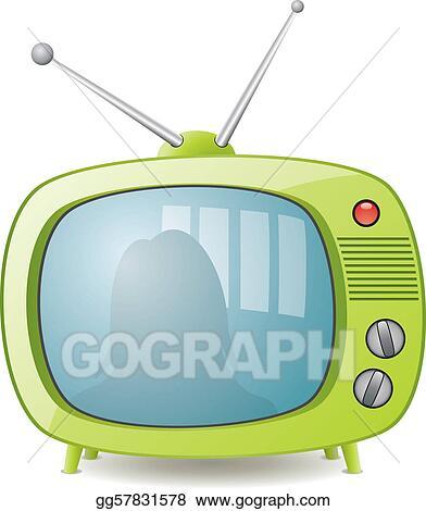 retro tv clip art. vector illustration - green retro tv set. stock clip art gg57831578