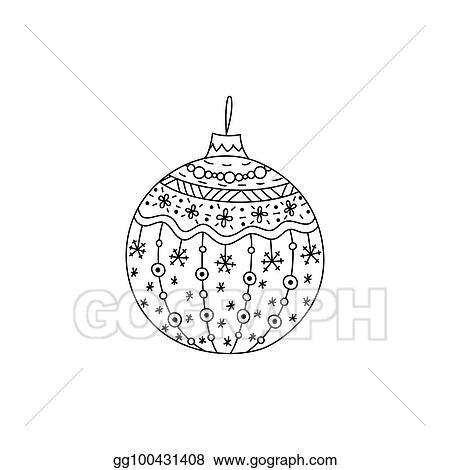 vector hand drawn christmas ball toy christmas coloring page book