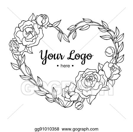 Vector Illustration Vector Hand Drawn Rose Wreath In Heart
